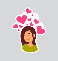 Girl smiling over heart shape sticker for vector