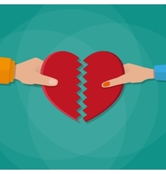 Hand of a man and woman tearing apart heart vector image