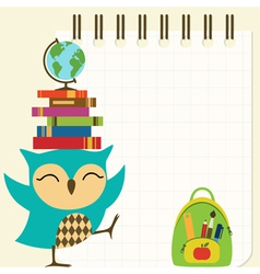 Happy little owl - back to school vector
