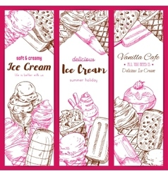 Ice cream frozen desserts banners sketch vector