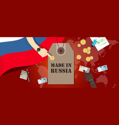 Made in russia price tag badge export vector