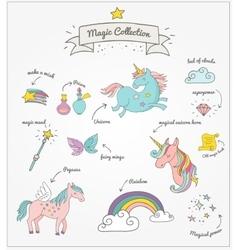 Magic hand drawn set - unicorn rainbow and fairy vector image vector image