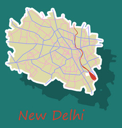 New delhi map sticker style design - vector