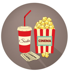 Popcorn soda takeaway and movie tickets vector