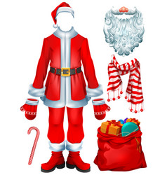 santa claus costume dress and christmas vector image vector image