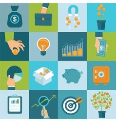 set of business concepts in flat style vector image