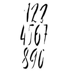 Set of calligraphic ink numbers dry brush vector