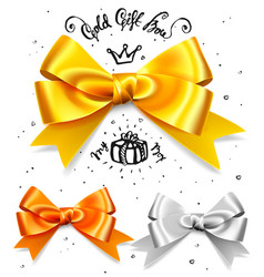 set of gold silver and bronze gift bows satin vector image vector image