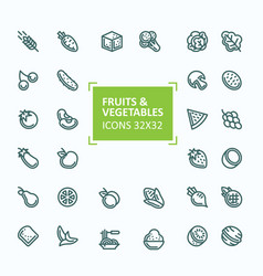 set of icons of fruits and vegetables in vector image