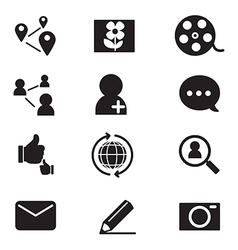 Silhouette social network icons set vector