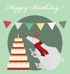 Vintage Birthday card with white bear and cake vector image vector image