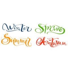 winter spring summer autumn set hand written vector image vector image