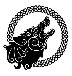 Wolf on celtic style howling wolf in celtic vector