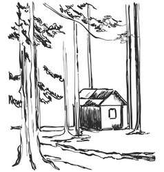 Wood cabins in forest landscape vector