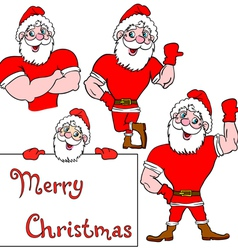 A set of pictures muscular santa claus vector