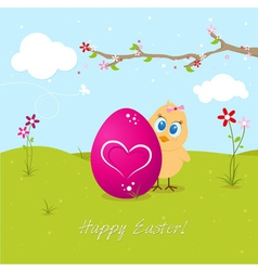 Easter Chicken With Big Egg vector image