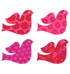 Retro floral valentines dove set isolated on white vector
