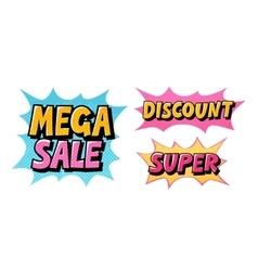 Mega Sale Discount Super Comic text pop art vector image