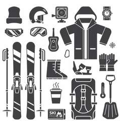 Mountain skiing equipment outline icons vector