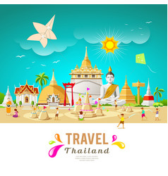 Thailand travel building and landmark vector