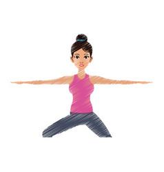 pretty woman doing yoga yogi icon image vector image