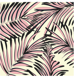 yellow pink palm leaves beach exotic vector image