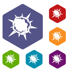 Powerful explosion icons set hexagon vector
