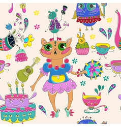 Cartoon color animal party vector