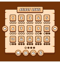 Game wooden menu interface panels buttons vector