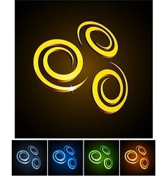 3d vibrant swirl emblems vector