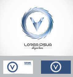 Letter v blue metal logo vector