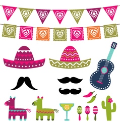 Mexican party decoration and photo booth pr vector