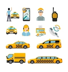 Flat taxi icons transportation service vector