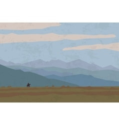 Landscape travel nature mountains riders horse vector