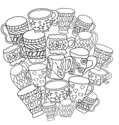 Set with cups and mugs hand drawn zentangle vector