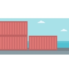 Background of shipping containers in port vector