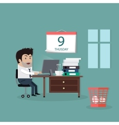 Deadline design concept flat interior man vector