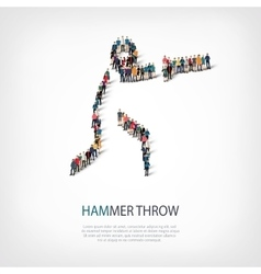 People sports hammer throw vector