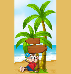 A beach with a monkey holding a flower vector image vector image