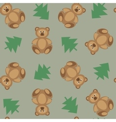 Bears ornament on a green background vector image vector image