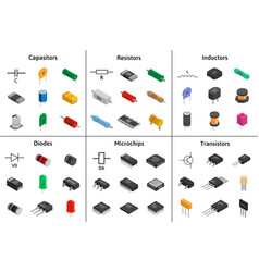 big set of izometric electronic components vector image vector image