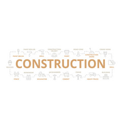 construction thin line banner for design vector image