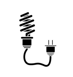 Contour save bulb with power cable vector