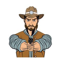 cowboy man cartoon character modern western vector image vector image