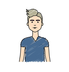 Cute man with haistyle and t-shirt vector
