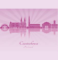 Czestochowa skyline in purple radiant orchid vector