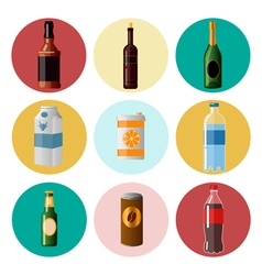 Different Beverages Drinks in Ware Icons Set vector image vector image