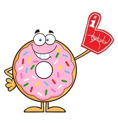 Donut cartoon with a foam finger vector