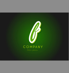 F alphabet letter logo green 3d company icon vector
