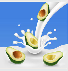 Flowing milk splash with avocado fruits vector